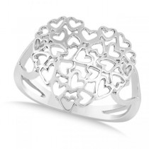 Carved Open Heart Shaped Ring Crafted in 14k White Gold