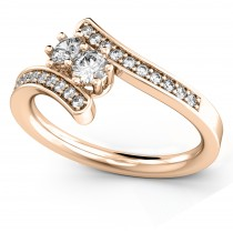 Diamond Accented Two Stone Curved Tension Ring 14k Rose Gold (0.70ct)