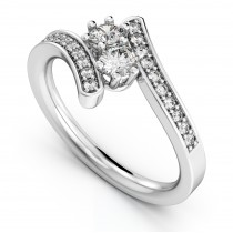 Diamond Accented Two Stone Curved Tension Ring 14k White Gold (0.70ct)
