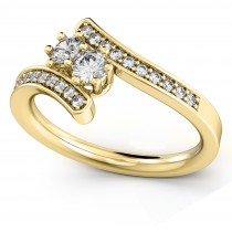 Diamond Accented Two Stone Curved Tension Ring 18k Yellow Gold (0.70ct)