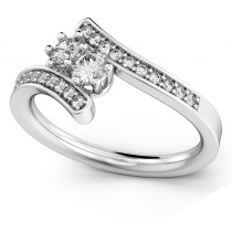 Diamond Accented Two Stone Curved Tension Ring Palladium (0.70ct)