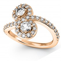 Diamond Halo Two Stone Ring Curved 14k Rose Gold (1.27ct)