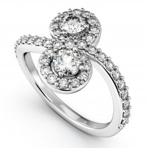 Diamond Halo Two Stone Ring Curved 14k White Gold (1.27ct)