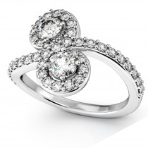 Diamond Halo Accented Curved Two Stone Ring 18k White Gold (1.27ct)