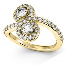 Diamond Halo Accented Curved Two Stone Ring 18k Yellow Gold (1.27ct)