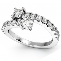 """Ever Us"" Two Stone Diamond Ring with Accents 14k White Gold (1.06ct)"