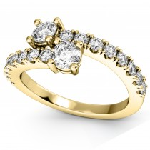 """Ever Us"" Two Stone Diamond Ring with Accents 14k Yellow Gold (1.06ct)"