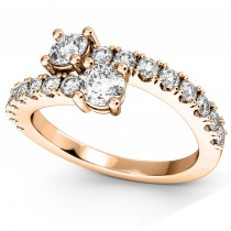 """Ever Us"" Two Stone Diamond Ring with Accents 18k Rose Gold (1.06ct)"