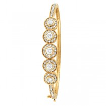 Vintage Style Diamond Bangle Bracelet 18K Yellow Gold (2.57ct)