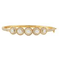 Vintage Style Diamond Bangle Bracelet 18K Yellow Gold (2.57ct)|escape