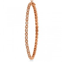 Vintage Style Pave Set Diamond Bangle Bracelet 14k Rose Gold (0.55ct)