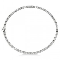 Vintage Style Pave Set Diamond Bangle Bracelet 14k White Gold (0.55ct)