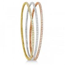 Stackable Diamond Bangle Eternity Bracelet 14k Rose Gold (2.60ct)