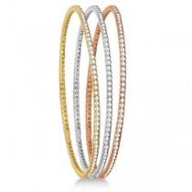 Stackable Diamond Bangle Eternity Bracelet 14k White Gold (3.00ct)