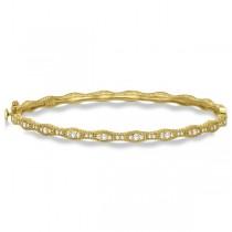 Vintage Milgrain Diamond Bangle Stack Bracelet 14k Yellow Gold (0.50ct)