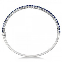 Luxury Stackable Blue Sapphire Bangle Bracelet 14k White Gold (4.00ct)