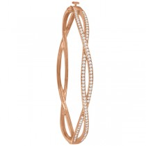 Pave Set Diamond Infinity Bangle Bracelet in 14k Rose Gold (1.00ct)