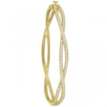 Pave Set Diamond Infinity Bangle Bracelet in 14k Yellow Gold (1.00ct)