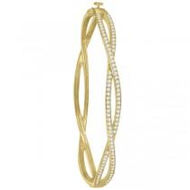 Pave Set Diamond Infinity Bangle Bracelet in 14k Yellow Gold (1.00ct)