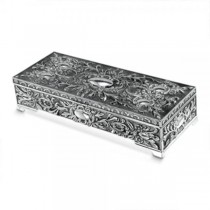 Women's Silver Plated Red Velvet Lined Antique Style Jewelry Box