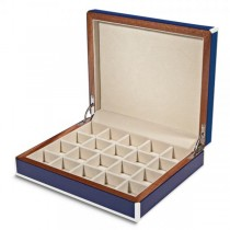 Unisex Blue Inlay High Gloss Finish Piano Finish Cufflink Box