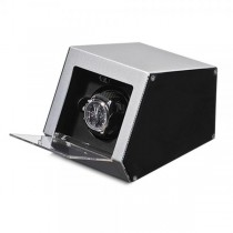 Unisex Silver Metal & Acrylic Faux Leather Lining Watch Winder
