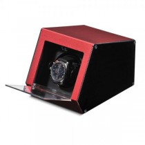 Unisex Red Metal & Acrylic Faux Leather Lining Watch Winder