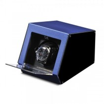 Unisex Blue Metal & Acrylic Faux Leather Lining Watch Winder