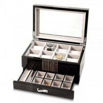 Women's Brown High Gloss Wenge Wood Finish Watch Box with Drawer
