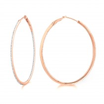 Diamond 42mm Oval Skinny Hoop Earrings 14K Rose Gold (0.48CT)