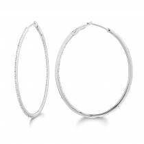 Diamond 42mm Oval Skinny Hoop Earrings 14K White Gold (0.48CT)