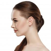 Diamond 42mm Oval Skinny Hoop Earrings 14K White Gold (0.48CT)