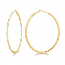 Diamond 42mm Oval Skinny Hoop Earrings 14K Yellow Gold (0.48CT)