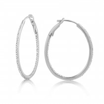 Diamond 28mm Oval Skinny Hoop Earrings 14K White Gold (0.34CT)