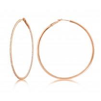 Diamond 53mm Round Skinny Hoop Earrings 14K Rose Gold (0.60CT)