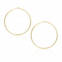 Diamond 53mm Round Skinny Hoop Earrings 14K Yellow Gold (0.60CT)