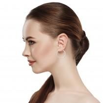 Diamond 39mm Round Skinny Hoop Earrings 14K White Gold (0.39CT)