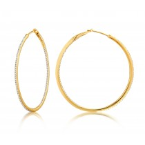 Diamond 39mm Round Skinny Hoop Earrings 14K Yellow Gold (0.39CT)