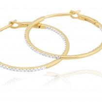 Diamond 25mm Round Skinny Hoop Earrings 14K Yellow Gold (0.20CT)