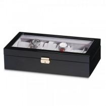 Women's Black High Gloss Finish Windowed Lid Velvet Lining Watch Box