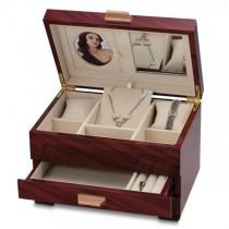 Women's Mahogany Finish Jewelry Box with Ring Rolls & Drawers