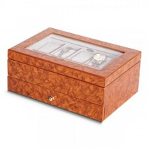 Women's Oak Finish Glass Window Faux Suede Lining Watch Box w/ Drawer