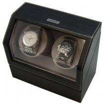 Battery Powered Dual Automatic Watch Winder in Black Leather