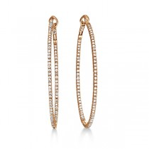 Hidalgo Micro Pave Diamond Hoop Earrings 18k Rose Gold (1.19 ct)