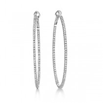 Hidalgo Micro Pave Diamond Hoop Earrings 18k White Gold (1.19 ct)|escape