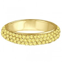 Hidalgo Micro Pave 3 Rows Yellow Diamond Ring 18k Yellow Gold (0.77ct)
