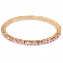 Hidalgo Pave` Pink Diamond Eternity Ring Guard 18k Rose Gold (0.20 ct)