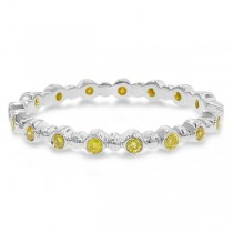 Hidalgo Bezel Set White Diamond Bead Band in 18k White Gold (0.17ct)