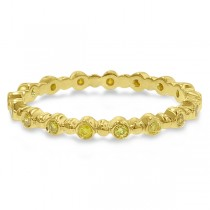 Hidalgo Bezel Set Yellow Diamond Bead Band in 18k Yellow Gold (0.17ct)