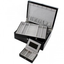 Jewelry Box with Removable Tray and Travel Case Espresso Wood Finish